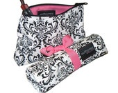 Makeup Brush Roll and Makeup Bag Travel Set, Damask, Black/White Hot Pink detail, In Stock Ready To Ship