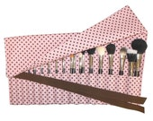 LIMITED - Large Makeup Brush Roll Holder Organizer, Polka Dot, Strawberry Pink and Chocolate Brown