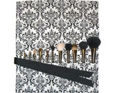 Makeup Brush Roll Holder Organizer Travel, Damask, Black and White - In Stock Ready To Ship