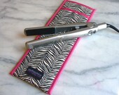Flat Iron Case/Curling Iron Travel Cover, Zebra/Tiger, Black/White with Hot Pink Detail