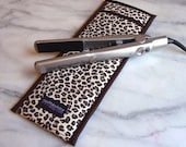 Flat Iron Case/Curling Iron Travel Cover, Leopard, Print Brown/Cream