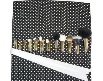 Makeup Brush Organizer Holder Case, Polka Dot, Black and White - In Stock Ready To Ship