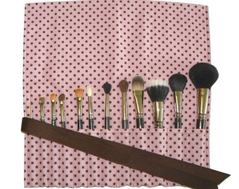 Makeup Brush Roll, Polka Dot, Strawberry Pink/Chocolate Brown - In Stock Ready To Ship