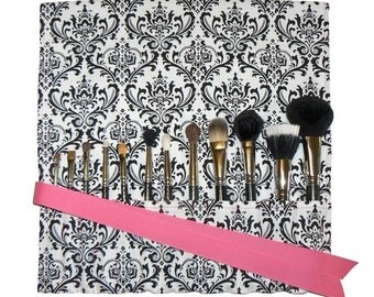 Makeup Brush Roll Holder Organizer, Damask, Black/White with Hot Pink Ribbon - In Stock Ready to Ship