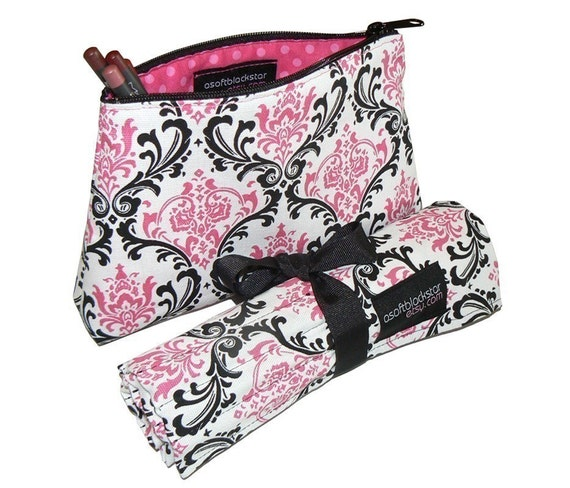 Makeup Brush Roll and Makeup Bag Travel Set, Damask, Pink/Black/White, In Stock Ready To Ship