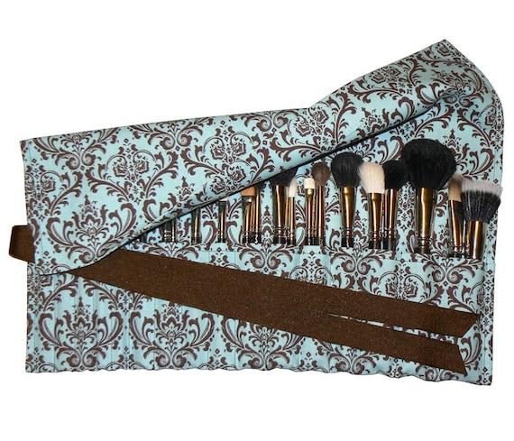 LIMITED - Large Makeup Brush Roll Holder Organizer, Damask, Blue/Chocolate Brown