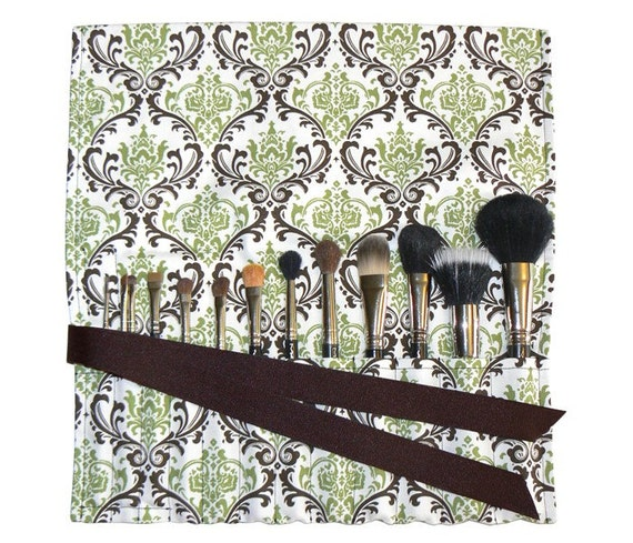 LIMITED - Makeup Brush Roll Holder Organizer, Damask, Green/Brown/White - In Stock Ready to Ship