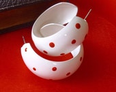 Vintage White with Red Polka Dot Earrings