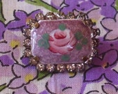 Antique Lavender Enamel,Pink Rose, Rhinestone Pin Brooch