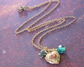 Rose Locket Charm Pendant Necklace