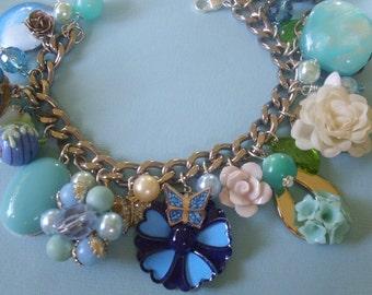 Vintage Blue Garden Eclectic Charm Bracelet SALE