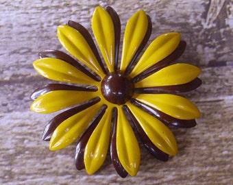 Vintage Mustard Yellow Chocolate Brown Enamel Flower Brooch