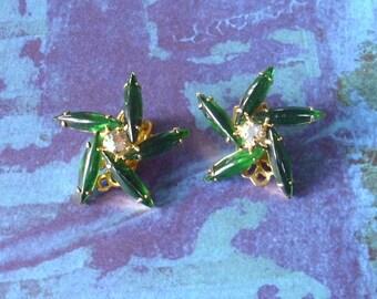 Vintage Green Starburst Earrings