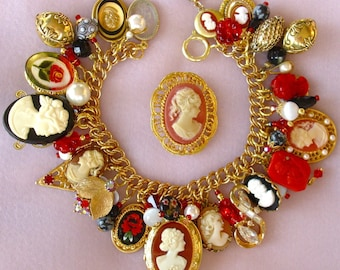 Eclectic Cameos and Red Flowers Charm Bracelet ooak