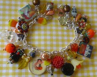 Floral Halloween Charm Bracelet ooak