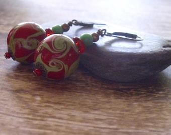Green Swirl Earrings SALE