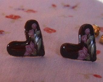 Vintage Lavender Floral Heart Earrings