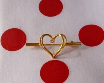 Vintage Rhinestone Heart Pin Brooch