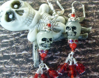 Skull and Blood Red Earrings