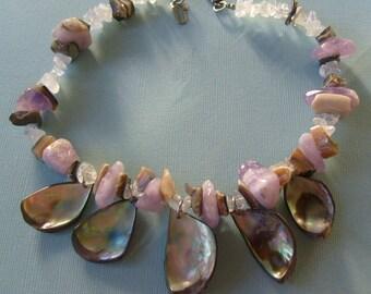 Vintage Abalone Drops Amethyst and Quartz Nugget Necklace