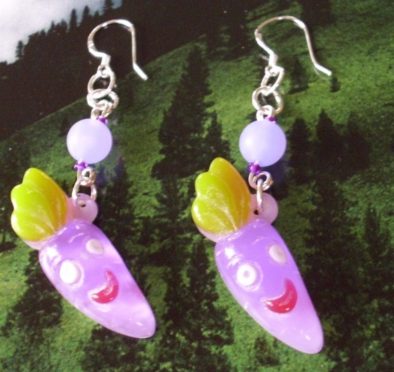 Purple Smiling Veggie Earrings