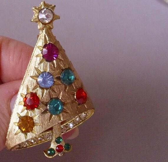 Vintage Colorful Rhinestone Christmas Tree Pin Brooch