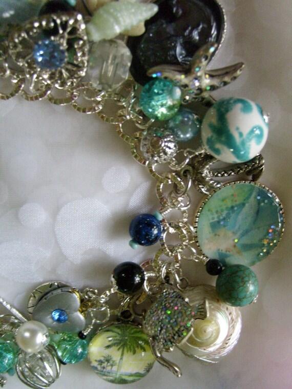 Life At Sea Pirate Mermaid Charm Bracelet Turquoise Ooak