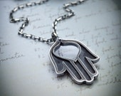 Open Hand sterling silver necklace