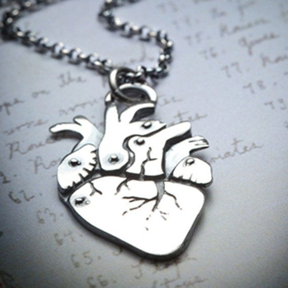 CARDIO-sterling silver anatomical heart necklace