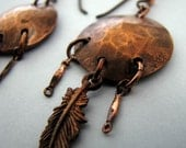 Penny Earrings with Copper Feathers
