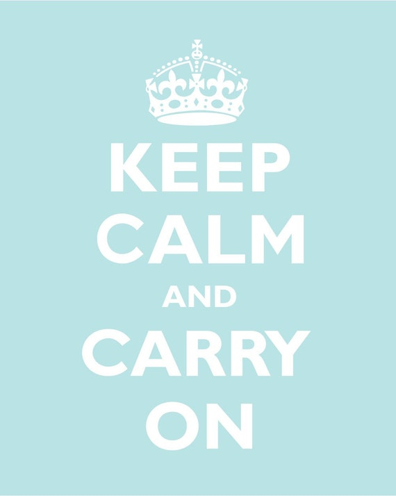 KEEP CALM AND CARRY ON - 16x23 - POWDER BLUE