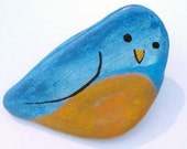 Bluebird Acrylic on Stone Handpainted Pin - geminiriverrocks