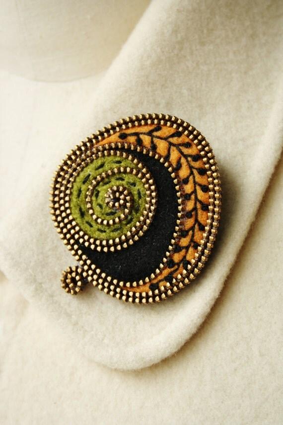Felt and zipper abstract brooch