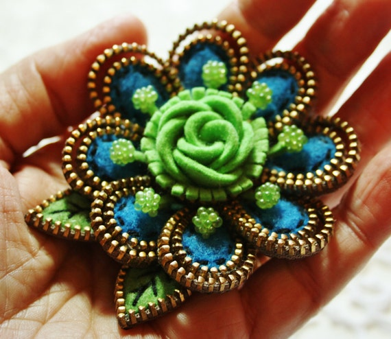 Felt and zipper  flower brooch... lime green and turquoise