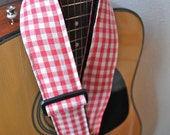 Adjustable Acoustic Guitar Strap - Picnic or Write You a Love Song or Strawberry Wine - LIMITED