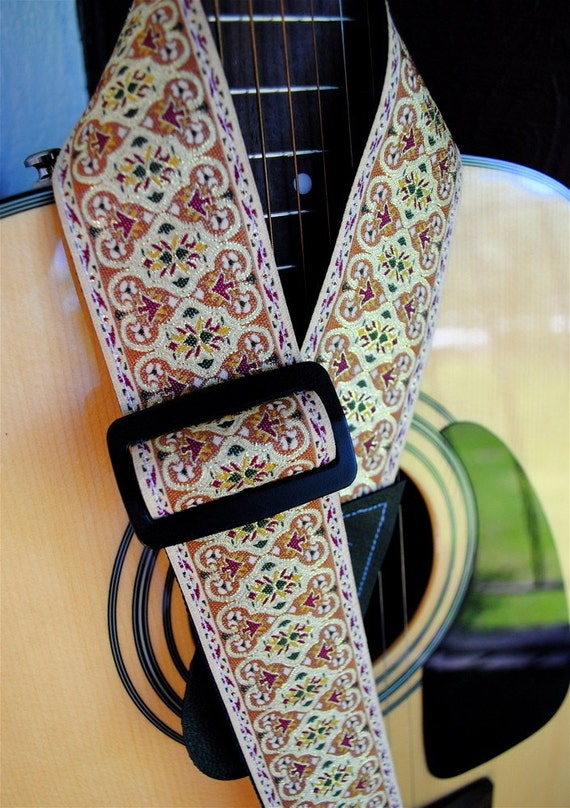 Adjustable Acoustic Guitar Strap - Vintage Hint of Gold - LIMITED