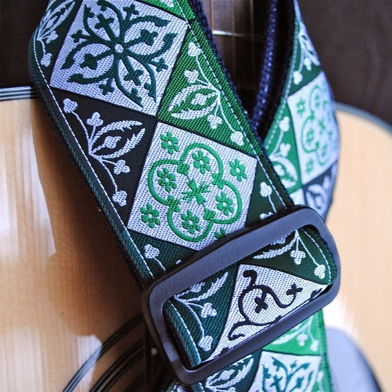 Adjustable Acoustic Guitar Strap - Electric Emerald Geometric