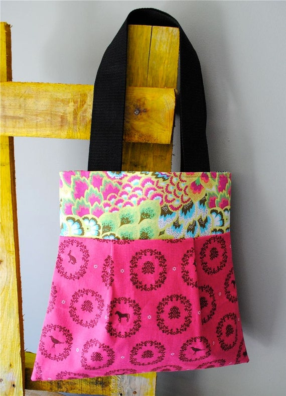 Louise Tote in Critter Damask - OOAK Shoulder Bag - Reversible - Washable