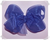 Medium Double Layer Loopy Style Organza Hair Bow in Royal Blue