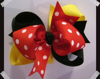 M2M Mouse Inspired LARGE 5 inch Black, Yellow, Red and White Dots Triple Loop Grosgrain Hair Bow
