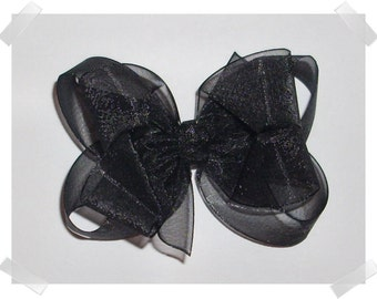 Medium Double Layer Loopy Style Organza Hair Bow in Black