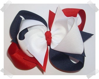 LARGE 5 inch Triple Loop Grosgrain Hair Bow in Red, White, and Navy Blue Big Girls Hairbow