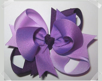 Petite 3 inch Triple Loop Grosgrain Hair Bow in Shades of Purple Little Girls Baby Toddler Hairbow