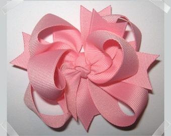 Petite Triple Loop Grosgrain Hair Bow in Solid Pink