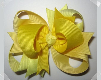 Petite 3 inch Triple Loop Grosgrain Hair Bow in Shades of Yellow Spring Summer Baby Toddler Hairbow