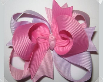 Petite Triple Loop Grosgrain Hair Bow in Pixie Pink Mix