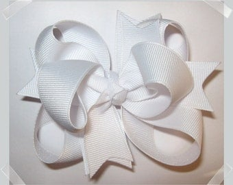 3 inch Petite Triple Loop Grosgrain Hair Bow in Solid White Little Girls Toddler Baby Hairbow Clip