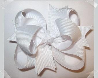 Petite Triple Loop Grosgrain Hair Bow in Solid White