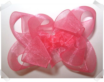 Medium Double Layer Loopy Style Organza Hair Bow in Hot Pink