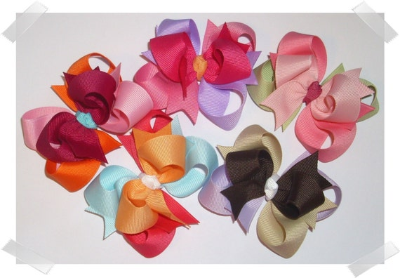 Custom Value Package of 5 Petite Triple Loop Grosgrain Hair Bows - Select From Over 100 Available Colors